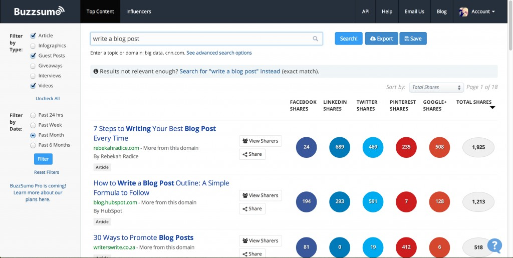 How To Get Blog Content Ideas From BuzzSumo