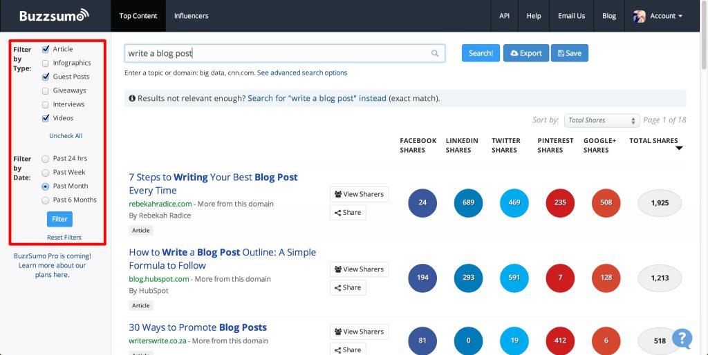 Get Blog Content Ideas From BuzzSumo Website
