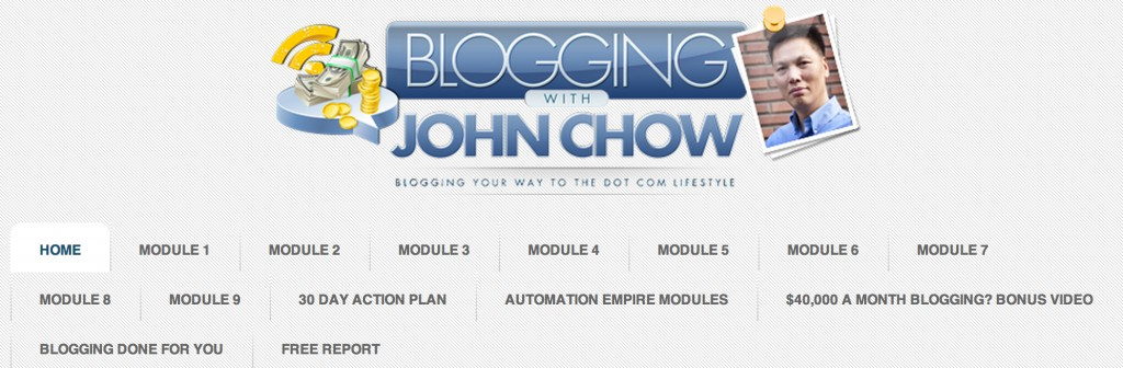 "The members' area in ""Blogging With John Chow"""