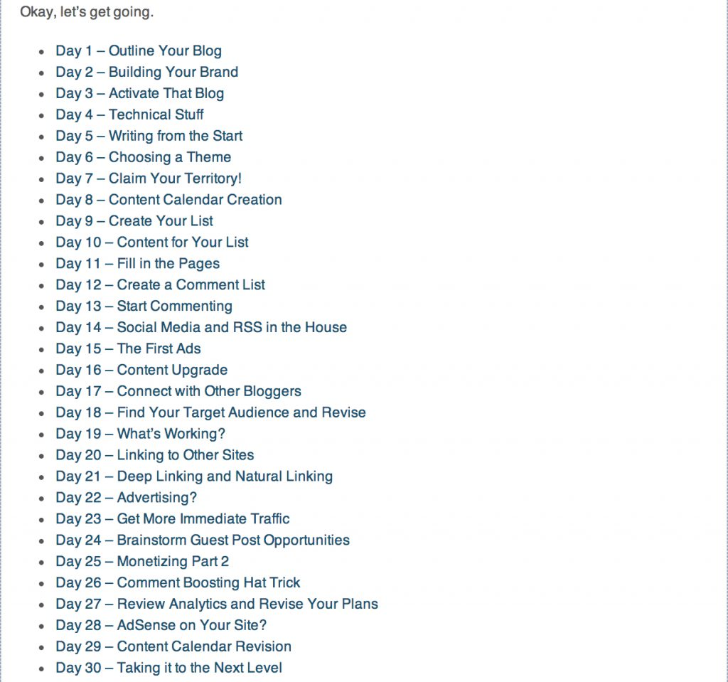 The 30 Day Action Plan