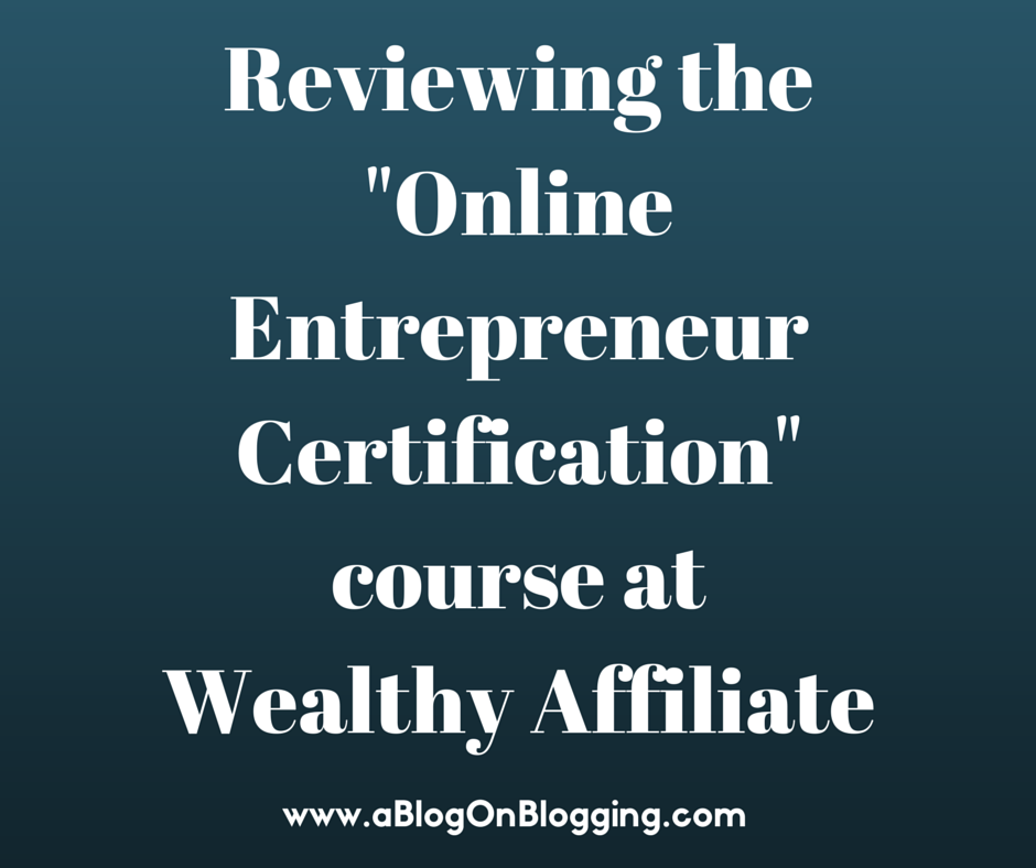 "Reviewing The ""Online Entrepreneur Certification"" Course At Wealthy Affiliate"