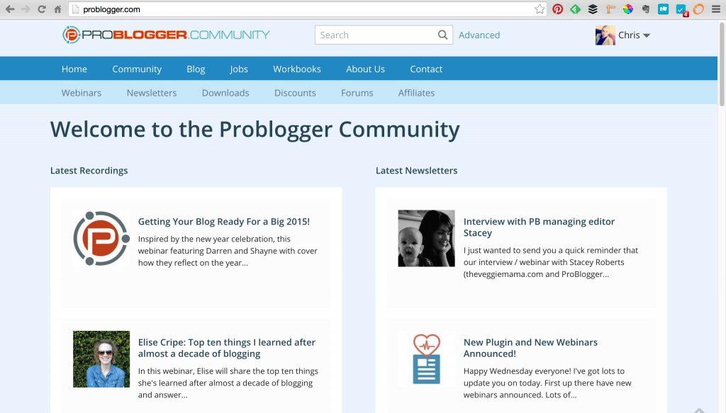 ProBlogger membership site homepage