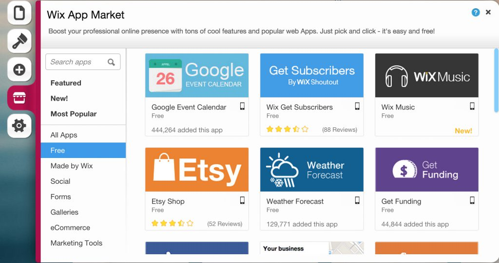 the wix app market for wixstores