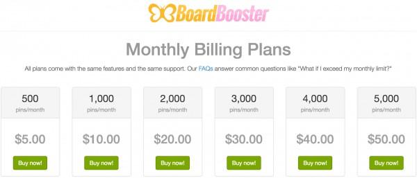 BoardBooster Monthly Billing Plans