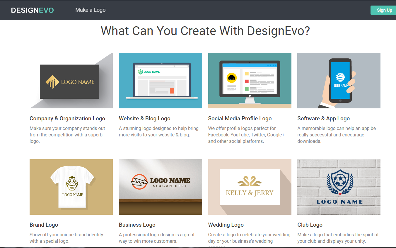 what can you create with DesignEvo