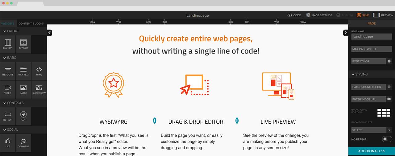 dragdropr web builder review