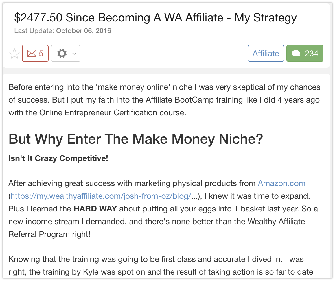 $2477 since joining Wealthy Affiliate