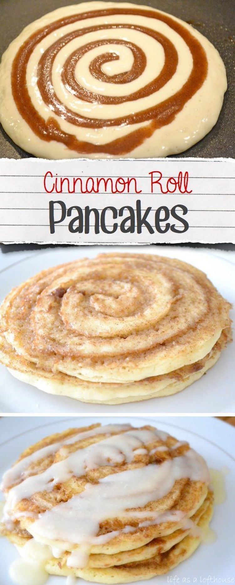 Cinnamon Roll Pancake Recipe: These Cinnamon Roll Pancakes will be the star of the show at breakfast time! Swirls of cinnamon throughout and topped with cream cheese glaze!