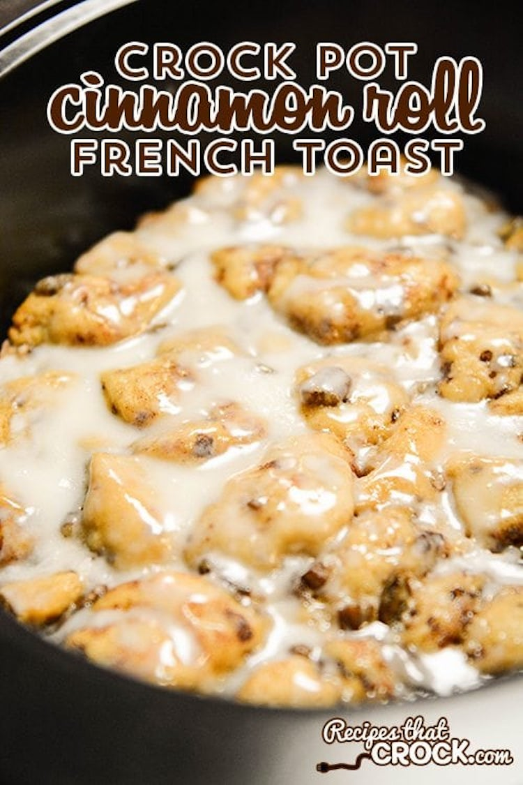 Crockpot Cinnamon Roll With French Toast Recipe: Are you looking for the perfect crock pot recipe for a busy holiday morning or the everyday? THIS. This Crock Pot Cinnamon Roll French Toast is one of my all-time favourite breakfast (and dessert) recipes!