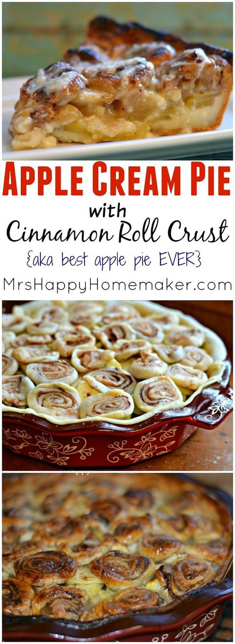 Apple Cream Cinnamon Crust Pie Recipe: Apple Cream Pie with Cinnamon Roll Crust – aka the BEST apple pie you've EVER had! Apples & cream baked into a cinnamon roll pie crust – A MUST MAKE!