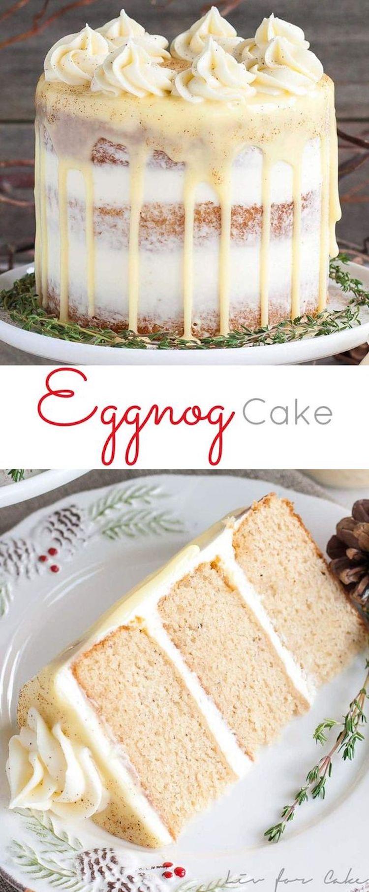 Spiked Eggnog Christmas Cake